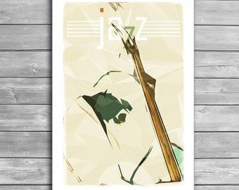 Contrabassist, Jazz Poster, Music Posters, Jazz Prints, Music Print, Jazz, Wall Decor, Art Print, Design Print, Office Decor, Music Gift