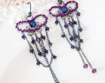 Vidia - Crystal Wire work earrings in purple amethyst