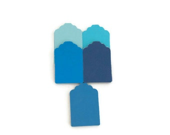 50 blue tags - blank tags - gift tags - favour tags - wedding tags - shades of blue - paper tags