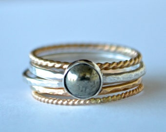 Stacking Rings in 14k Yellow and Rose Gold Filled and Sterling Silver Ring Set with Fools Gold Cabochon