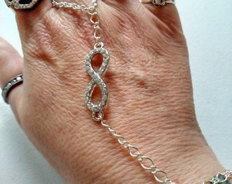 Infinity silver plated slave bracelet