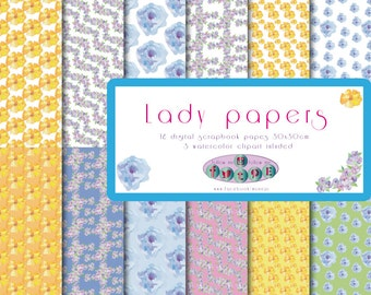 Lady Papers. Digital scrapbook papers. Digital funds. Flowers.