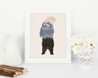Bear art, digital prints, printable artwork, mountain bear art, Bear Print, nature art, beige Home Decor, silhouette of bear, digital art
