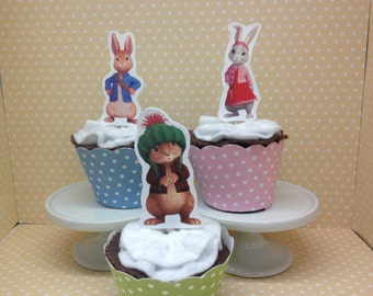 Peter Rabbit Cupcake Topper Decorations - Set of 10