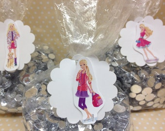 Barbie Party Candy or Favor Bags with Tags - Set of 10
