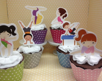Gymnastics Party Cupcake Topper Decorations - Set of 10