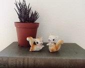 1960s Ceramic Squirrel Figurines