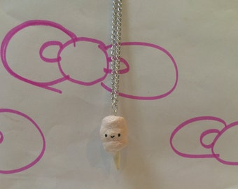 Polymer Clay Kawaii Cotton Candy Necklace