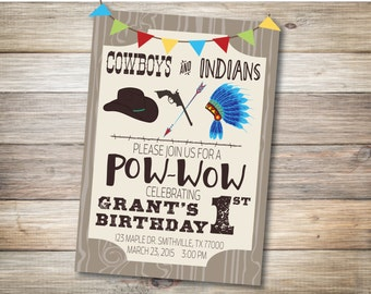Cowboys & Indians Birthday Party Invitation DIGITAL DOWNLOAD