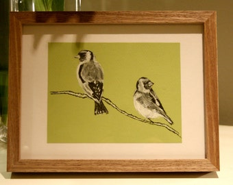Goldfinches, Bird Art, Original Ink Drawing