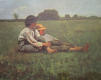 """Vintage Print of 1874 Original Painting """"Boys In A Pasture"""" by Winslow Homer, Courtesy of Museum of Fine Arts Boston, Massachusetts"""