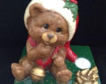 Ceramic Teddy Bear on Christmas Package Tea Light Holder