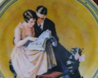 Vintage Norman Rockwell Plate, A Couple's Commitment, Dated Collector Plate