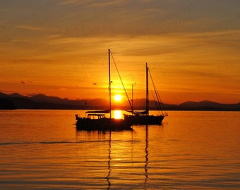 BEACH PHOTOGRAPHY, Sailboat, digital download photography, sunset photo, nautical, Fine Art, Digital, gift ocean, island beach photography
