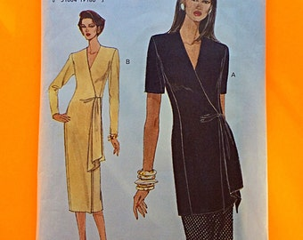 """WRAP DRESS, UNCUT, F/F, Wrap Top & Skirt, Size 8-10-12, Bust 31 1/2"""" to 34"""", Very Easy Vogue 8976."""