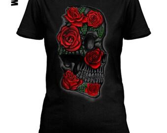 Skull with rose print white, black ot gray  lose or tight  fit cotton women men t-shirt