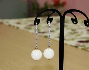 ivory white Swarovski peal,bling zircon Dangle Earrings , Statement earrings, Wedding Bridal Jewelry,gift