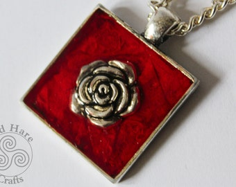Red Resin Pendant Necklace with Silver Rose.