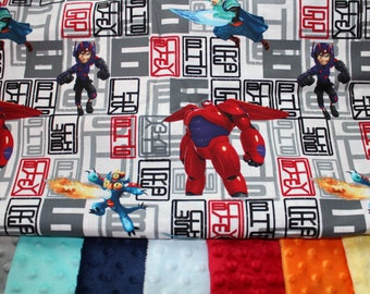Personalized Minky Baby Blanket, BIG HERO 6 Baymax Minky Baby or Toddler Blanket