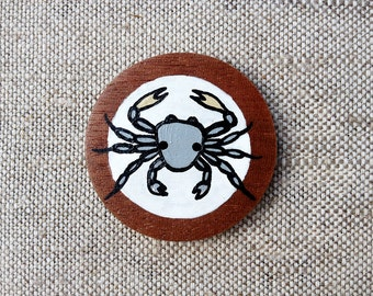 Cancer Zodiac Sign Hand Painted Wooden Button with Zodiac Symbol Cancer, Astrology Art Cancer Picture, Cancer Painting