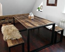 Reclaimed Wood & Steel Dining Table and 2 benches set Handmade Industrial Kitchen Table old wood