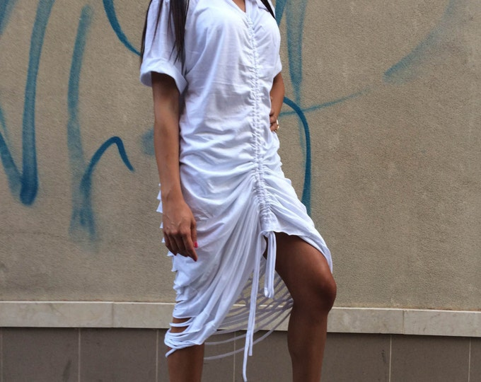 Sexy Summer White Cotton Dress, Open Back Dress, Extravagant Casual Maxi Kaftan by SSDfashion