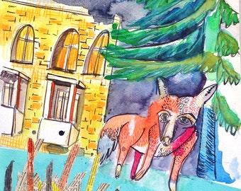 Berlin, city, Fox, Garrett, collage, artwork, painting, original, no pressure