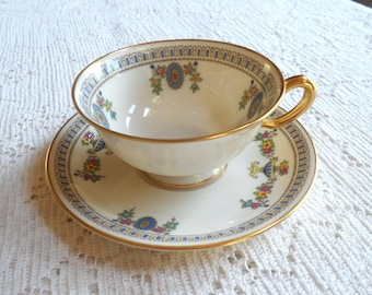 Vintage Lenox The Colonial T2 china footed cup and saucer set.