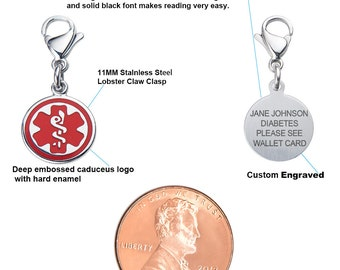 Mix N Match 1/2' (12.7mm) 316L Stainless Medical Alert ID Charm-Red-Free Custom Engraving-9931RD
