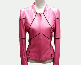 Custom made Leather Jacket - Pink Jacket - Short Jacket - Women Jacket - Women Leather Jacket