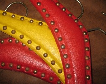 Three Faux Leather Vinyl Hangers