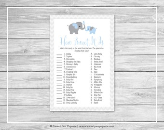 Elephant Baby Shower How Sweet It Is Game - Printable Baby Shower How Sweet It Is Game - Blue and Gray Elephant Baby Shower - SP102