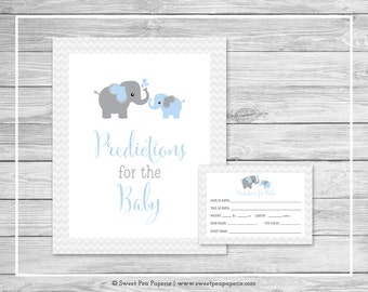 Elephant Baby Shower Predictions for Baby - Printable Baby Shower Predictions for Baby Cards - Blue and Gray Elephant Baby Shower - SP102