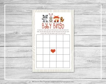 Woodland Animals Baby Shower Baby Bingo Game - Printable Baby Shower Baby Bingo Game - Woodland Animal Baby Shower - Baby Bingo Game - SP105