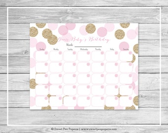Pink and Gold Baby Shower Guess Baby's Birthday - Printable Baby Shower Guess Baby's Birthday Game - Pink and Glitter Baby Shower - SP106