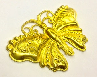 2 Pieces Large Butterfly Stamping, High Polished Raw Brass, Dapped and Detailed, Vintage, 54x33mm