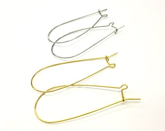 8 Pairs (16 Pieces) Large Kidney Ear Wires in Gold Plated Brass and Stainless (Surgical) Steel, 49x22mm