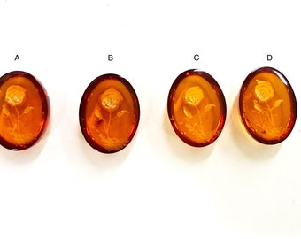 Genuine Baltic Amber Cabochons with Carved Rose, 16x12mm Oval, Vintage, Sold Per Piece