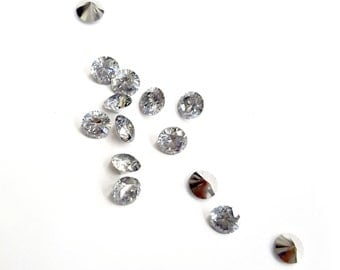 12 Pieces Tiny CZ's Cubic Zirconia Chatons, A Grade, Brilliant Crystal with A+ Silver Foil on Back, Vintage, 4mm Round