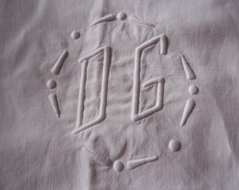 French  cotton sheet, hand embroidered, French linen, metis French vintage,French linens, French decor – Drap en lin,coton,