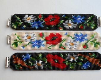 Ukrainian Gerdan,Ukrainian bracelet ,bracelet with poppies ,Black bracelet, bracelet bead, Flower Bracelet, handmade