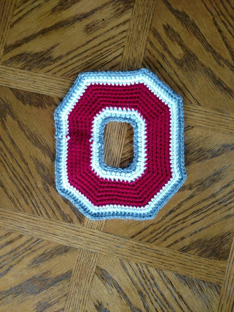 Large Ohio State Crochet Applique Block O By