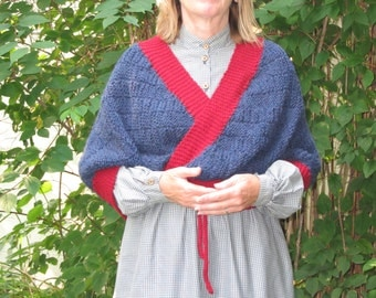 Hand crafted Civil War Bosom Friend Sontag Shawl 100% Wool 1860 Pattern Reenactor