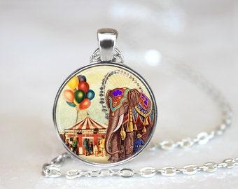 Elephant Necklace, Elephant Jewelry, Circus Elephant Necklace, Circus Jewelry, Circus Necklace
