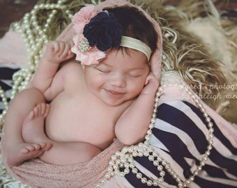 Navy and Pink flower clip headband