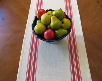 White and Red Stripe Cotton Toweling Table Runner