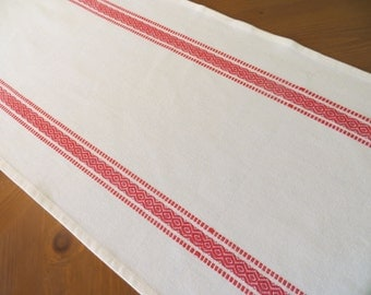 Cream and Red Scandinavian Design Cotton Toweling Table Runner