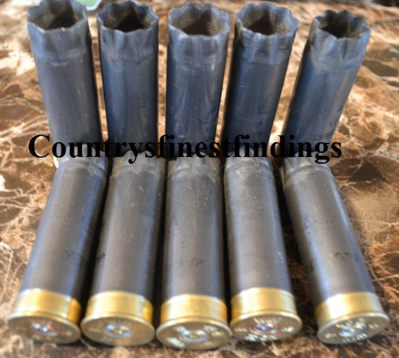 10 count Gray 12 GA Once Fired Shotgun Shell's by countrysfindings