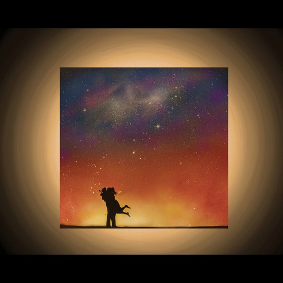 art couple painting wall art spray paint art sunset painting. Black Bedroom Furniture Sets. Home Design Ideas
