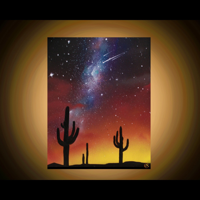 Desert Paintings Arizona Landscape Stars Cactus Silhouette
